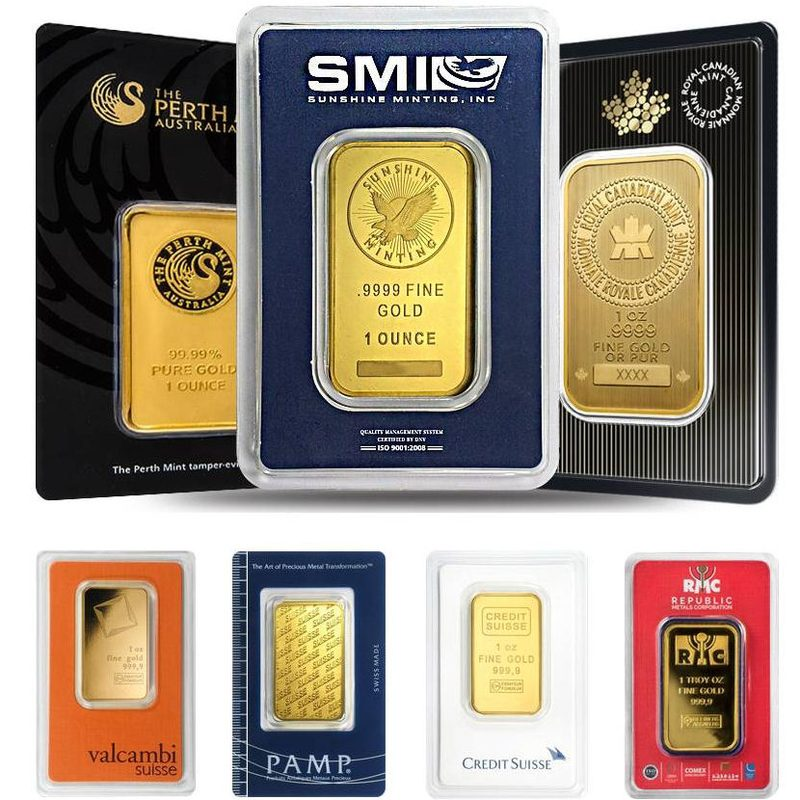 1 Oz Gold Bar Various Brands Sealed In Assay Card